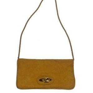 Vintage Yellow Suede or Ultra Suede Chain Handbag